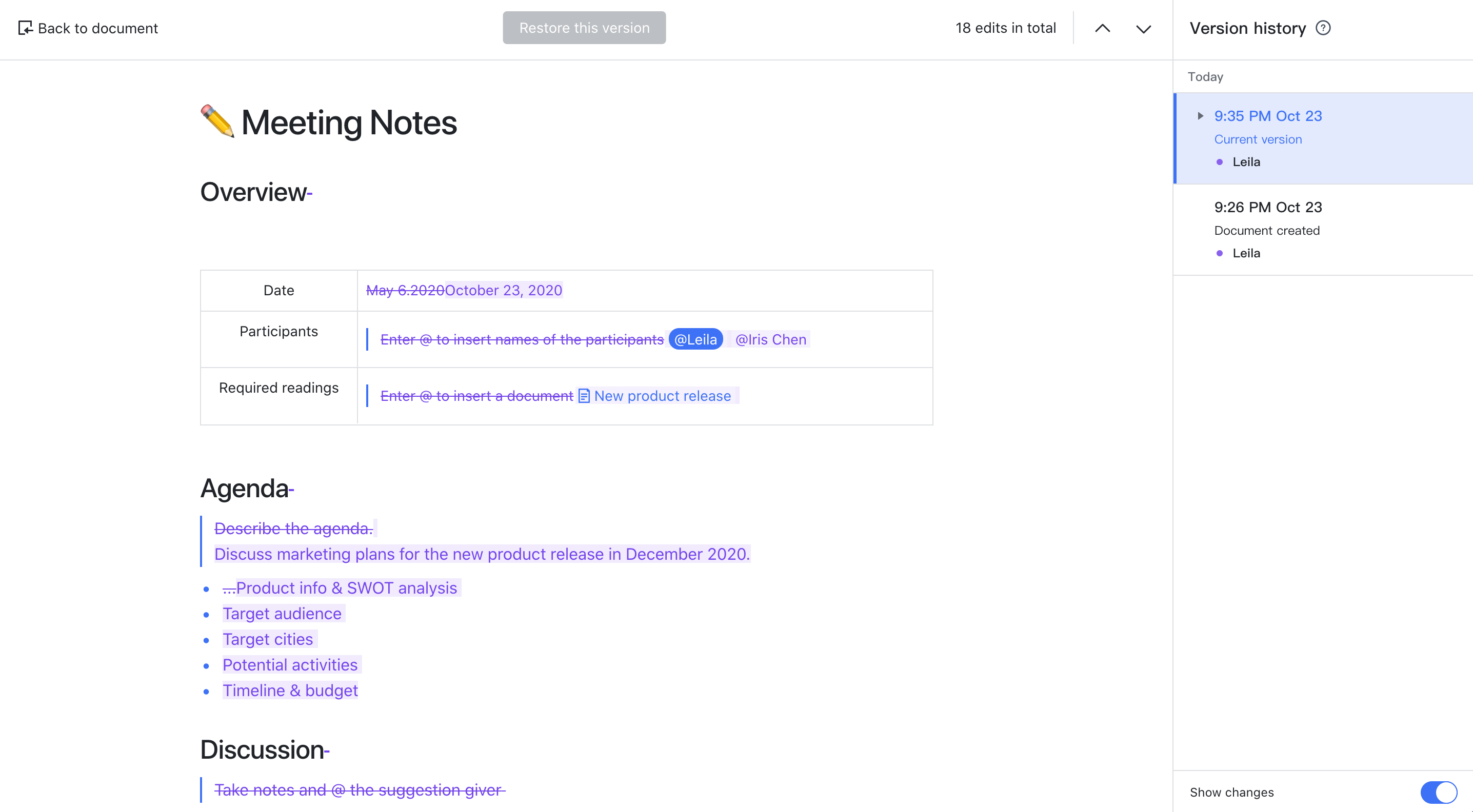 Use the updated version history in Docs